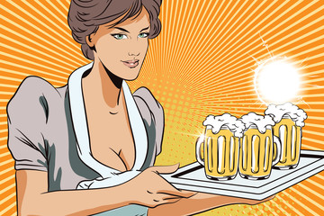 People in retro style. Girl waitress with beer.
