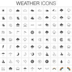 Weather icons set. Full and outline versions.