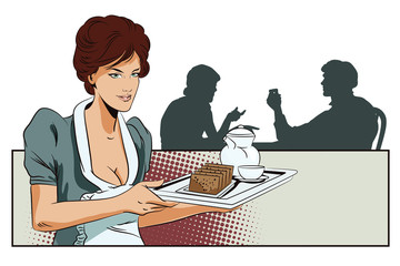 Girl waitress with breakfast. Silhouettes other people.