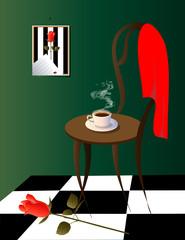 чашка кофе, красная роза и платок в зеленой комнате