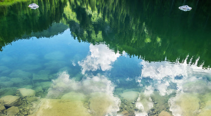 Beautiful nature reflection background in the Alps mountain