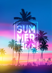 sunset blurred background with typography text vector. Summer Time poster