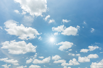 Sun with sunlight in cloud on blue sky background