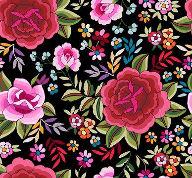 Manton Shawl, Spanish Floral Print ~ seamless background