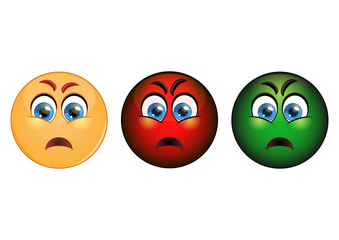 Set evil emoticon, red, yellow and green. Vector illustration.