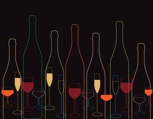 wine bottles Wine bottle and glass
