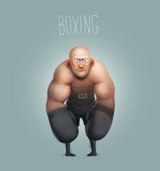 funny cartoon character, boxer, boxing champion