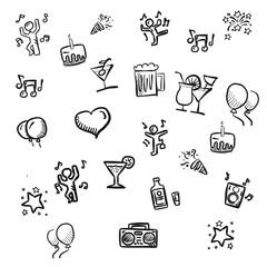 Party Kritzelei Vektor Zeichnung