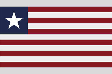 Liberia flag official right proportions, star vector illustration