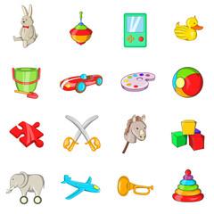 Toys icons set, cartoon style