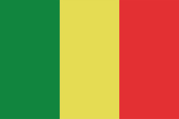 Mali flag official right proportions, vector illustration