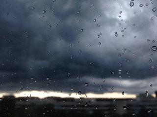 summer rainstorm with ominous clouds