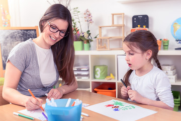 Mother and Child Spending Time Together Learning