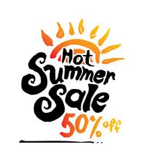 Hot Summer Sale vector illustration, background. Hand lettering inspirational typography poster.