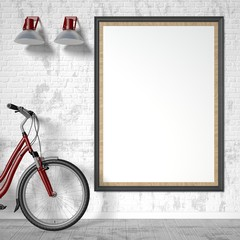 Blank picture frame with bike and wall light. Mock up poster. 3D rendering illustration