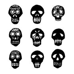 Dia de los Muertos mexican sugar skulls set