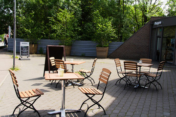 Cafe table and chairs on the High Street