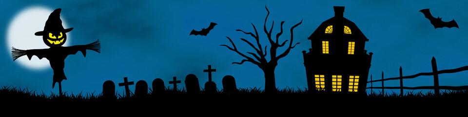 halloween panoramique épouvantail maison hanté