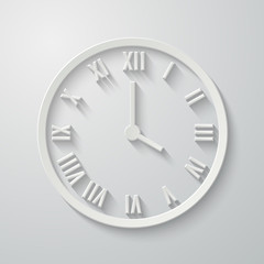 Paper flat clock icon with shadow