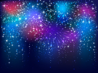 Colorful firework on dark background