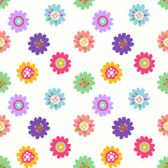 Cute seamless vector pattern with flowers