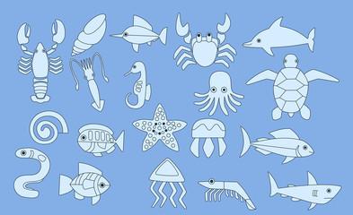 set of sea animals icons, vector illustration