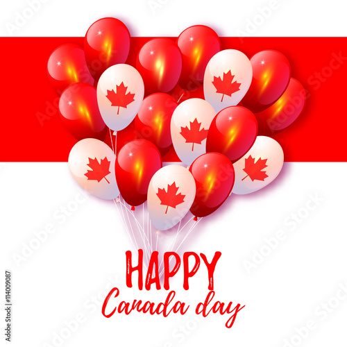 """Canada Day. Background With Balloons In National Colors"