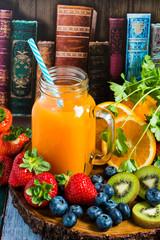 Homemade antioxidant summer fruits smoothie