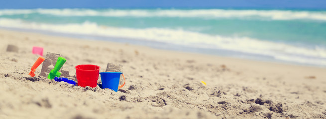 kids play on beach concept