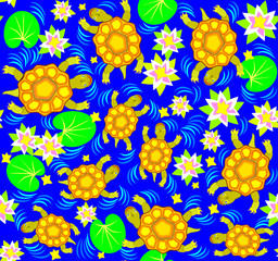 Seamless pattern with turtles, vector cartoon image.