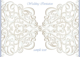 Vector invitation card ornamental lace with damask elements. Elegant lacy feather decoration, greeting card, wedding invitation or announcement, template. Vector
