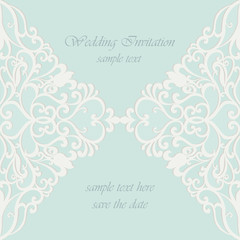 Vector invitation card ornamental lace with damask elements. Elegant lacy feather decoration, greeting card, wedding invitation or announcement, template. Green. Vector