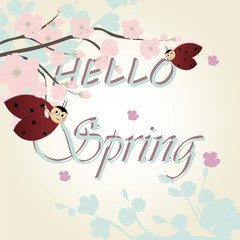 Hello spring background with ladybugs. Vector