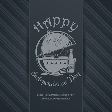Independence Day card. Happy Independence Day of America. 4th of July. BBQ and beer bottle on elegant gray background. Vector illustration