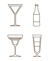 Silhouette set of cocktails. Alcohol design. Vector graphic