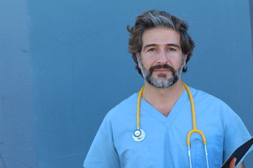 Portrait of a handsome male nurse with copy space