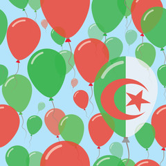 Algeria National Day Flat Seamless Pattern. Flying Celebration Balloons in Colors of Algerian Flag. Happy Independence Day Background with Flags and Balloons.