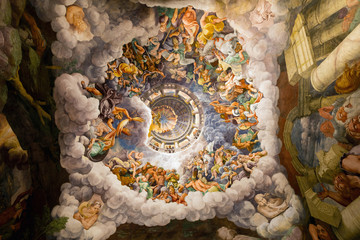 16th century ceiling frescoes in the Room of the Giants at the Palazzo Te in Mantua, Italy, constructed 1524–34 for Federico II Gonzaga, Marquess of Mantua.