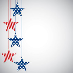 Hanging star Independence Day card in vector format.