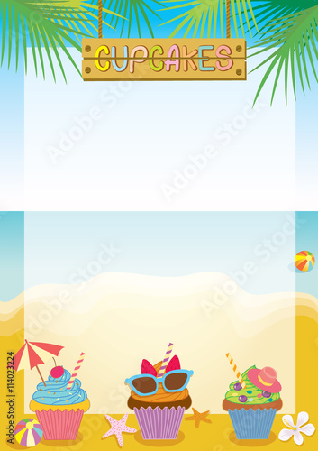 Illustration Vector Of Fantasy Cupcakes Menu Template For Summer