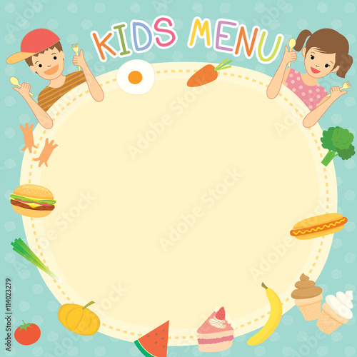 Boy And Girl Was Eating For Kids Menu Template Board Decoration With  Ingredient Food Meal And  Dessert Menu Template