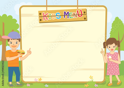 Illustration Vector Kids Menu Meal Template Design With Boy And Girl In  Background Of Nature.  Free Kids Menu Templates