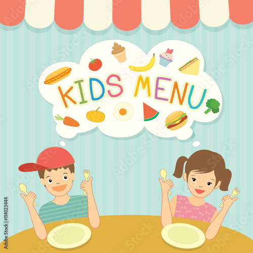 Boy and girl was eating for kids menu template board decoration – Free Kids Menu Templates