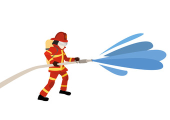 vector illustration of firefighter extinguishes a fire