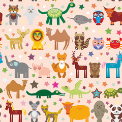 Set of funny cartoon animals character on pink seamless background. zoo. Vector