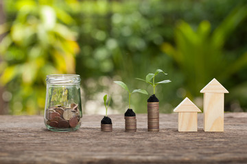 The concept of financial savings to buy a house.
