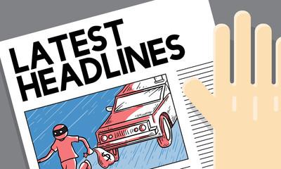 Latest Headlines Breaking Communication Inportant Concept