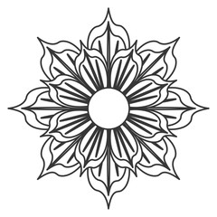 black and white flower icon