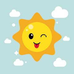 Kawaii icon. sun Cartoon design. Vector graphic