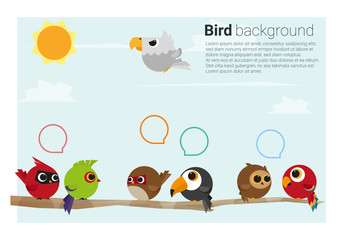 birds on branches background , vector, illustration